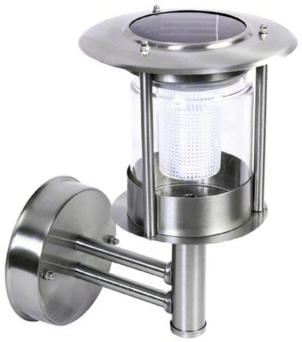 stainless steel white led wall light outdoor solar powered