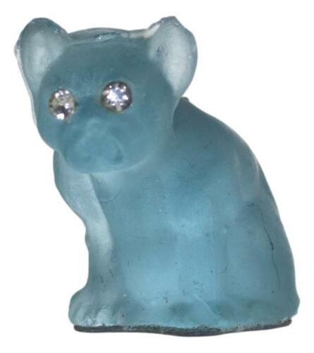 Antique CZECH Glass CRACKERJACK Cracker Jack Charm French Bulldog Blue 2cm