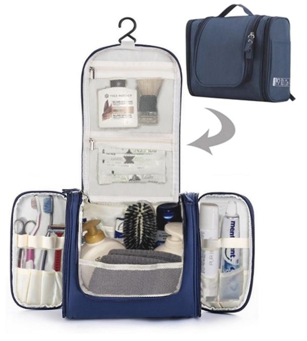 Beauty case da viaggio organizzato con gancio tessuto Blu 18 Scomparti