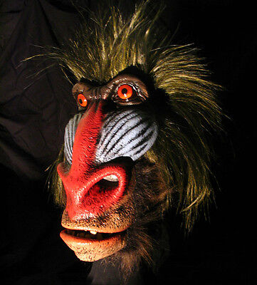 Big Baboon Scary Ape Man Funny Adult Latex Halloween Mask Moving Mouth (Funny Scary Masks)