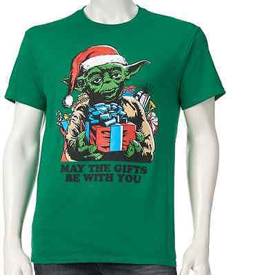 "NEW  STAR WARS Yoda Chrstimas Men's Sz L Shirt "" MAY THE GIF"