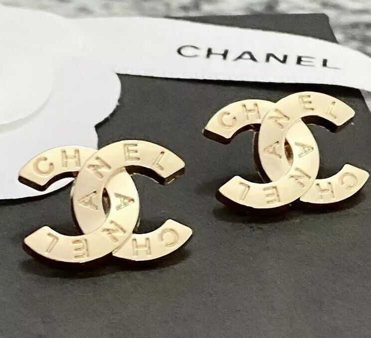 Set Of 2 CHANEL stamped CC Gold Metal Buttons 19mm