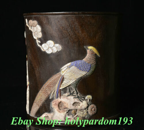 """8"""" Old Chinese Wood Shell Carving Pine Tree Magpie Bird Brush Pot Pencil Vase"""