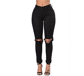 Skinny stretch jeggings trouser with rip style size 8