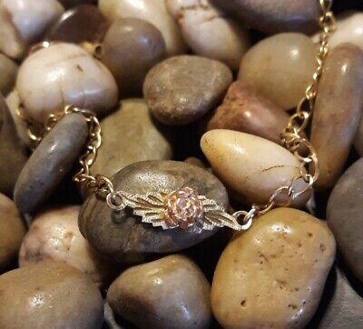 """Vintage Genuine Black Hills Gold Rose Bracelet 10K Gold 7""""   Coleman Company"""