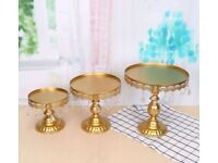 3 Gold crystal cake stands