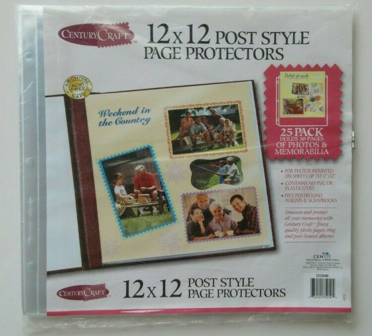 New Century Craft 12 x 12 Post Style Page Protectors 25 Pack Sealed Acid Free