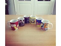 Six Retro Mugs