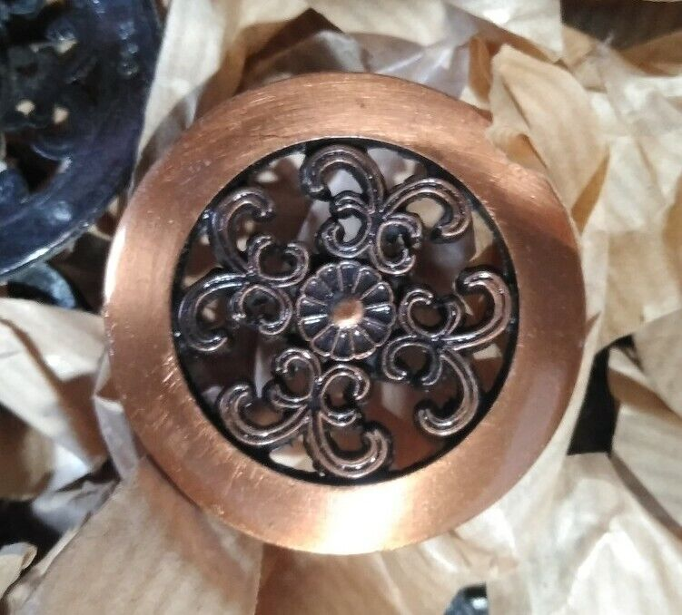 """Antique Vintage Ornate Round Copper Kitchen Cabinet Drawer Pulls Knobs 1.5"""""""