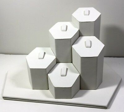 White Leather Wrapped Hexagon Ring Display Jewelry Bracelet Watch Display Holder