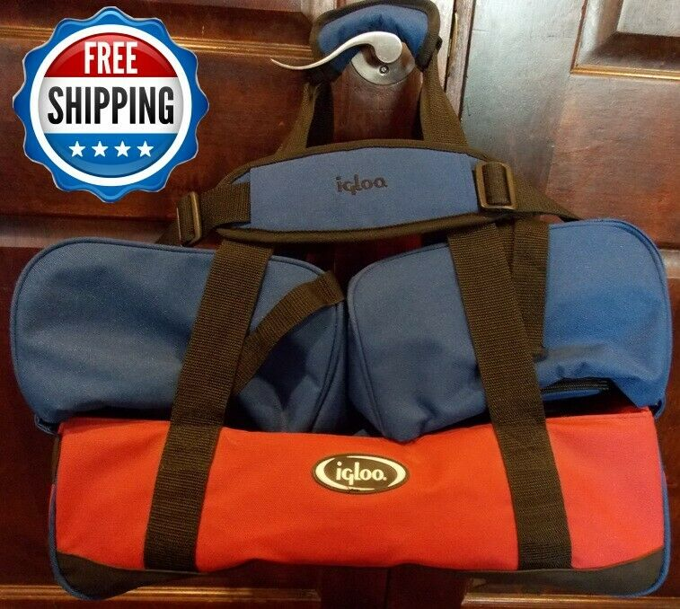 IGLOO INSULATED HOT/COLD FOOD CARRIER WITH HANDLES AND COLLAPSIBLE - RED BLUE