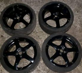 Fox6 Fox 17x7J Black Alloy Wheels 4x100 (Honda Civic)