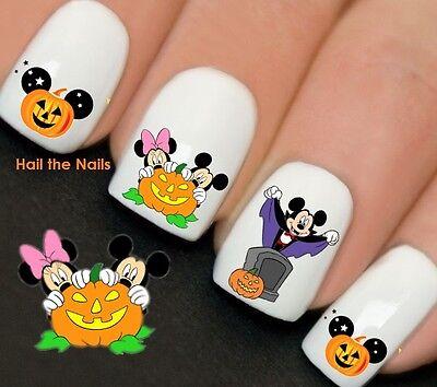 Minnie Mouse Halloween Nail Art (Disney Halloween Mickey Minnie Mouse Nail Art Water Transfer Decal Wraps)