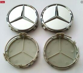 Silver Mercedes Benz Alloy Wheel Centre Caps Black Fits
