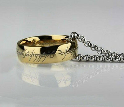Lord of the Rings Stainless Steel  Bilbo's Hobbit Gold Ring & Chain Men's Band