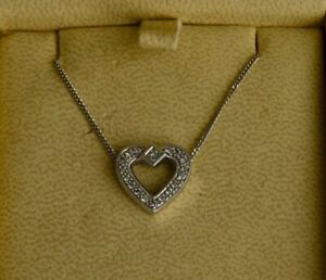 14K White Gold and Diamond Heart Pendant and Necklace