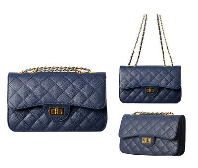 Quilted Flap Bag Pocket Divider Shoulder Handbag Satchel Purse Navy blue 01