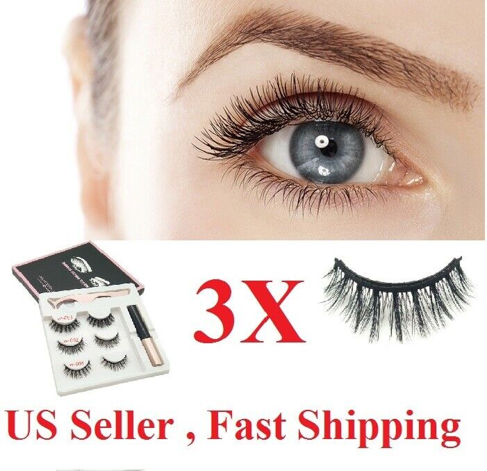 3x Magnetic Eyelashes Natural Eye liner Lashe Extension Liquid Eyeliner Tweezer Eyes