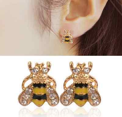 Lovely Jewelry Enamel Rhinestone Bumble Bee Crystal Earrings Animal Ear Stud hs - Bumble Bee Ears