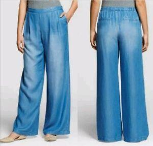 NEW Women's Tencel Wide Leg Denim Pant by Merona, Free Shipping XL