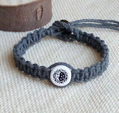 Gray Hemp Bracelet Ceramic Moon & Stars Zodiac Sign Bead 3/8