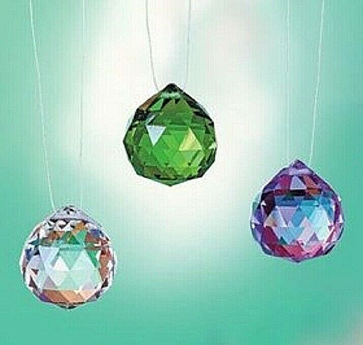 Colorful Crystals Prosperity Diamond-cut Glass Crystal with Hanging Cord COLORS Collectibles