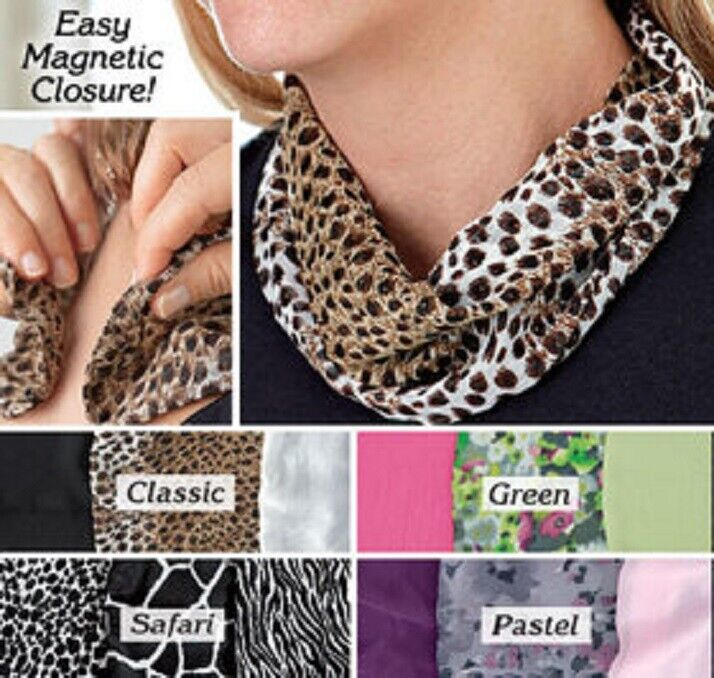 Magnetic Neck Cowl Scarf Fashion Breathable Lightweight polyester SET of 3 Color Clothing, Shoes & Accessories