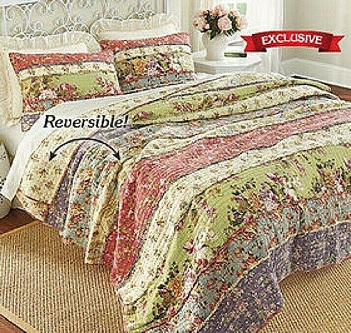 Perennial Garden Quilt Set 100% Cotton Filled Reversible Comfortable Bed TWIN Bedding