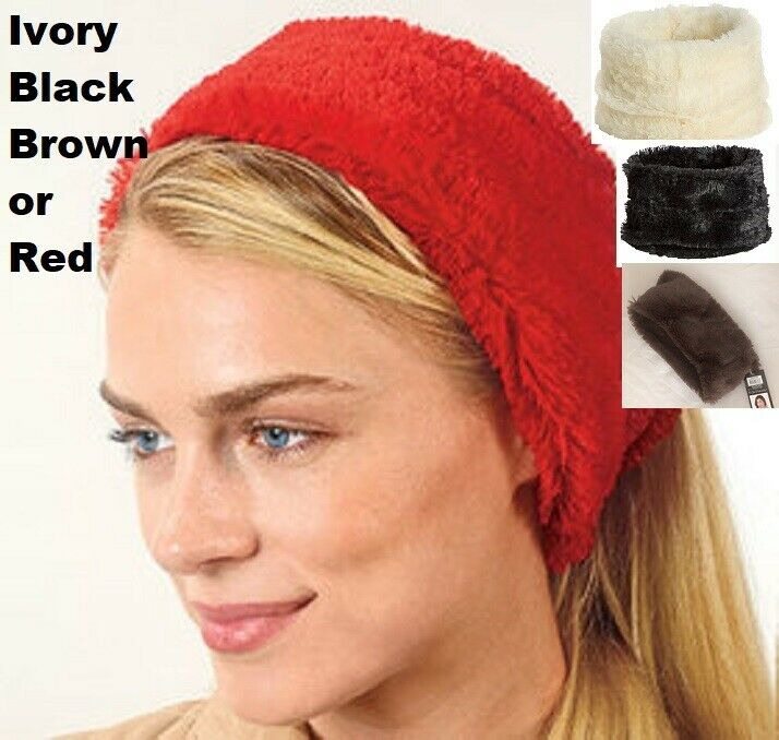 Head Warmer Faux Fur Headband Posh Puff Ear Neck Head Warmer Plush Choose Color Clothing, Shoes & Accessories