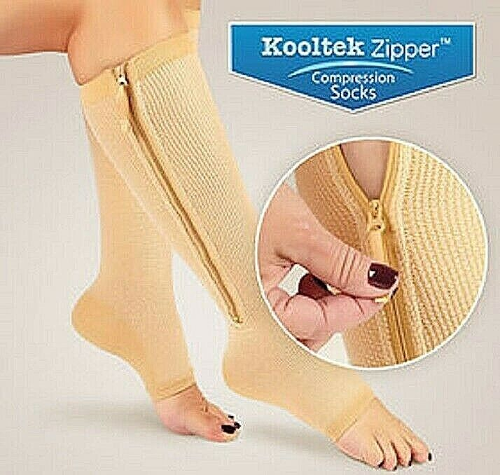 Kooltek Zipper Compression Socks Open Toe Unisex Zippered 20-30 mmHG NEW Compression Garments