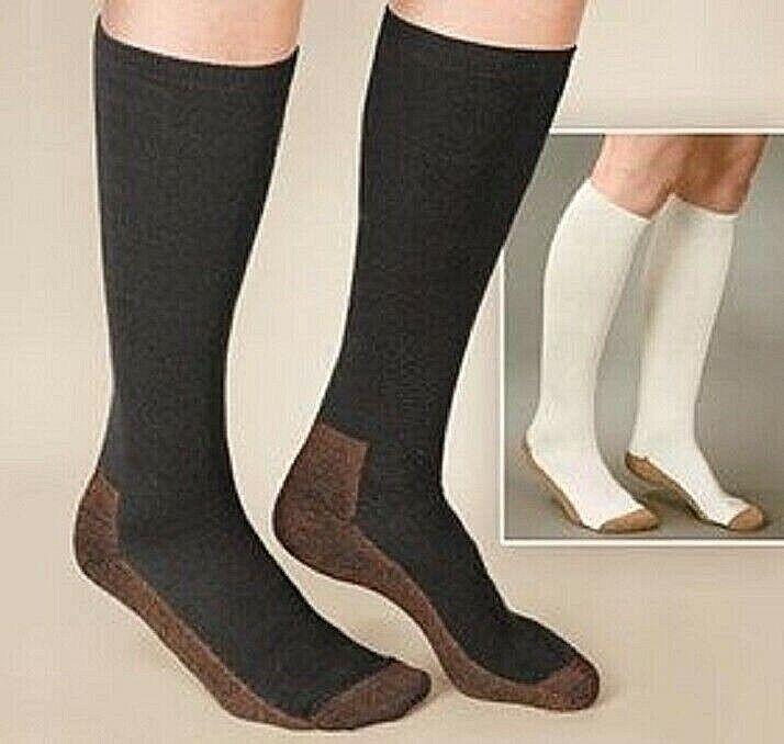 Copper Infused Compression Anti-fatigue Socks Women Men Black or White Brand NEW Health & Beauty