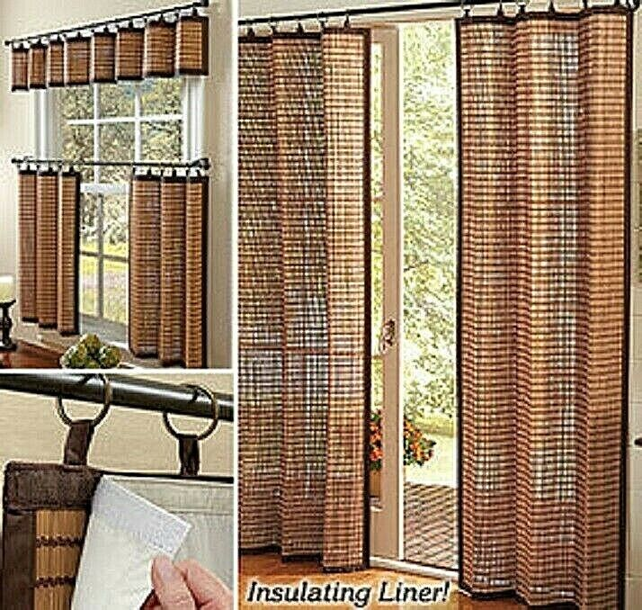 Curtain Blind Shade Bamboo Window Panels Cotton Trims Eco Friendly Natural NEW Blinds & Shades