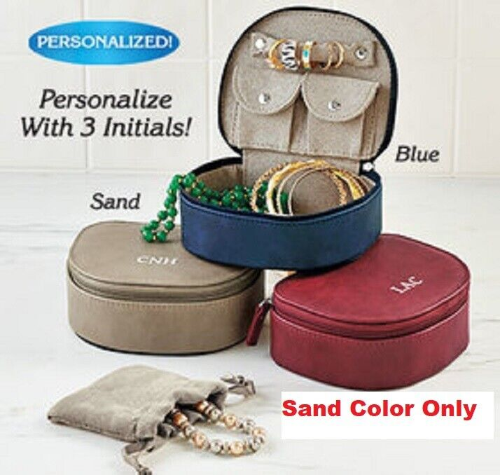 Personalized Travel Jewelry Case Faux Leather Plush Suede Lining SAND Color NIB Jewelry & Watches