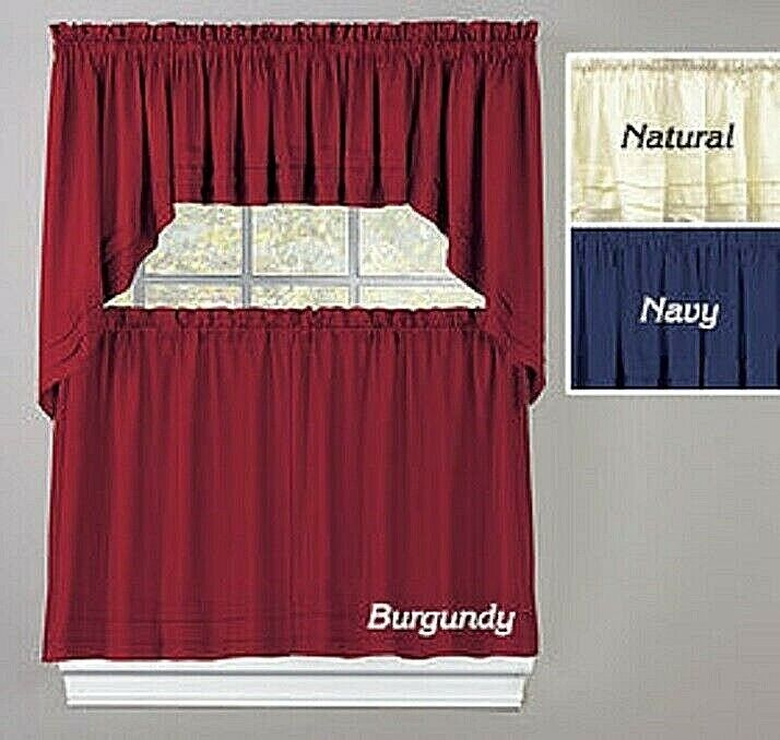 Tier Curtain Swag or Valence Stylish Woven polyester Navy Burgundy Natural NEW Curtains & Drapes