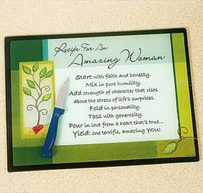 Recipe For An Amazing Woman Glass Cutting Board Resilient surface Heat Safe NIB Cutting Boards