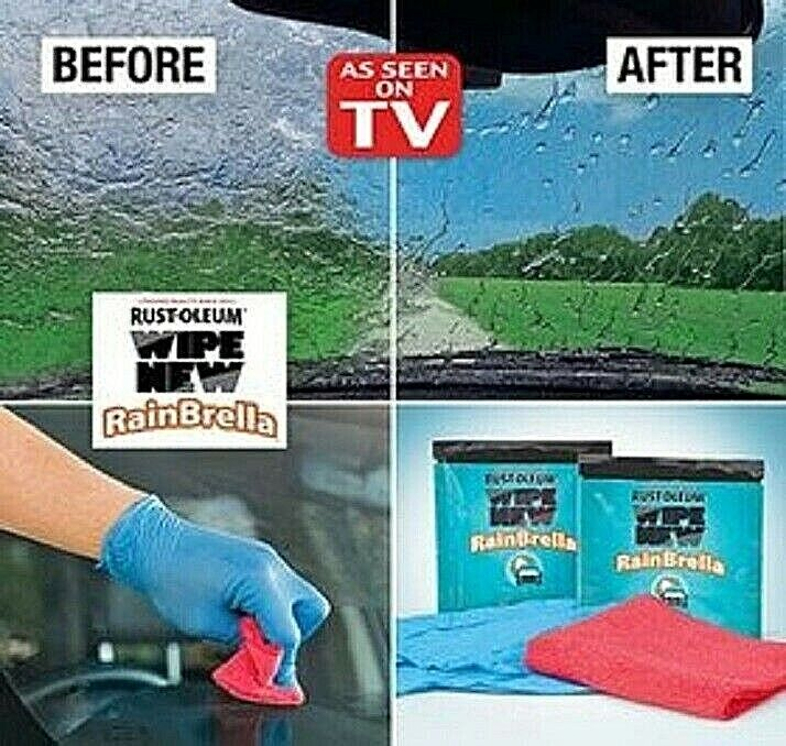 Wipe New RainBrella 2 treated wipes, 1 microfiber buffing cloth, 1 pair of glove Automotive Care & Detailing