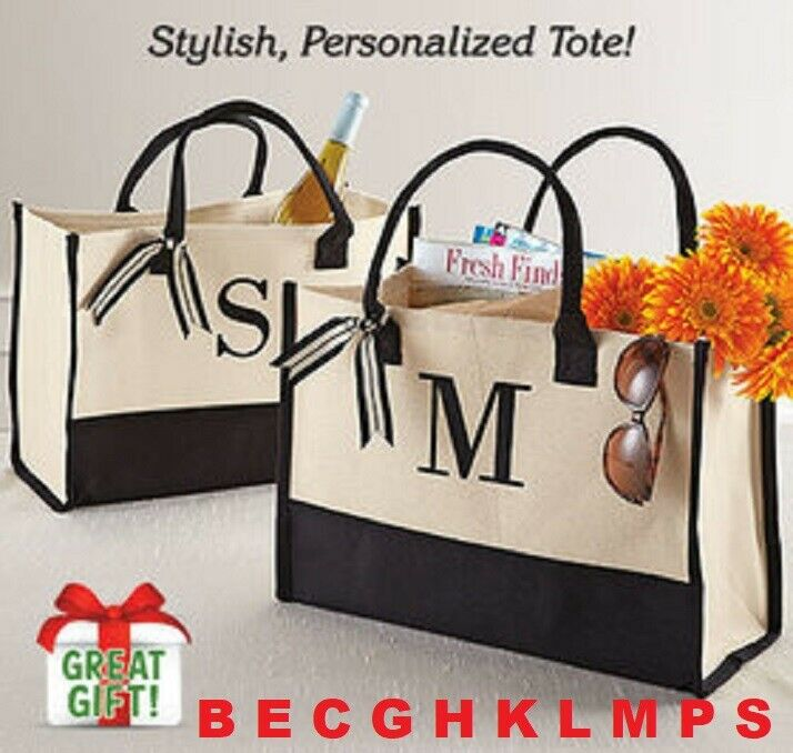 Initial Tote PERSONALIZED Canvas Tote Roomy Cotton Bag Embroidered Initial NIB Clothing, Shoes & Accessories