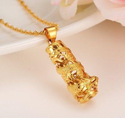 24K Gold Authentic Dragon Pendant   Chain Stylish Necklace D545