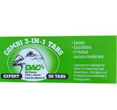 Dac Combi Tabs 3 in 1 Tricomoniasis Coccidiosis & Hexamites CANKER Pigeons Birds