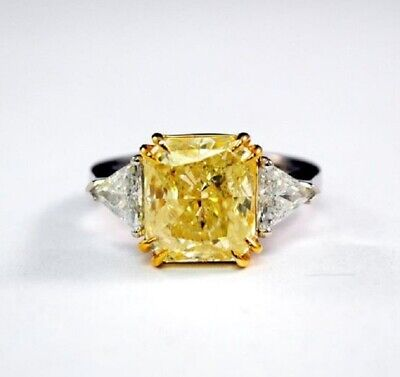 2.20 ct. Fancy Yellow Radiant Cut w/ Trillion Diamond Engagement Ring GIA 18k