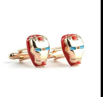SALE Iron Man Gold Red Cufflinks Novelty For Shirts Suits Wedding Business Party