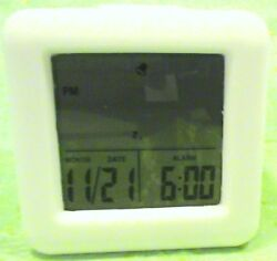 Timelink Back Light White Square LCD Travel Alarm Clock w/Snooze and Calendar