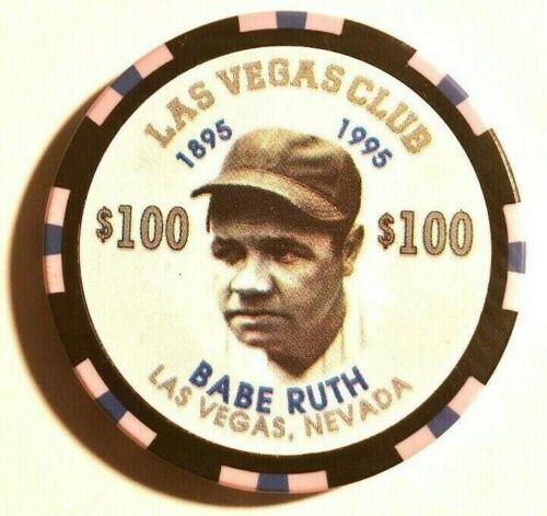 -VINTAGE **Las Vegas Club** -1995-  $100 chip  Babe Ruth Centennial