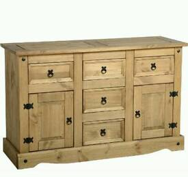 Strong solid pine wood sideboard