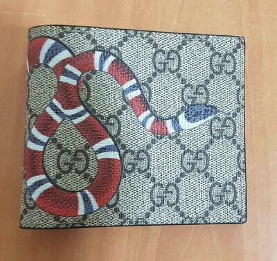 Gucci Mens GG Beige Supreme Snake Bifold Wallet - Card Wallet