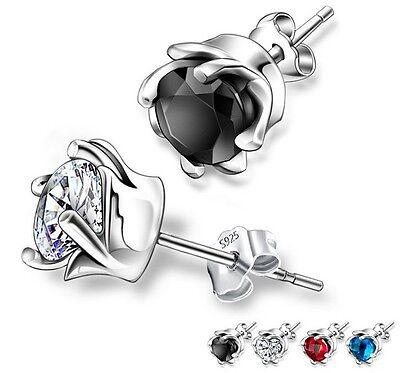 Sterling silver Women Men LAB DIAMOND Whirl Obsidian Onyx Rose Stud Earrings B16 - Obsidian Onyx Earrings