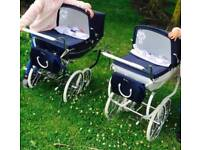 Navy and navy and white silver cross prams