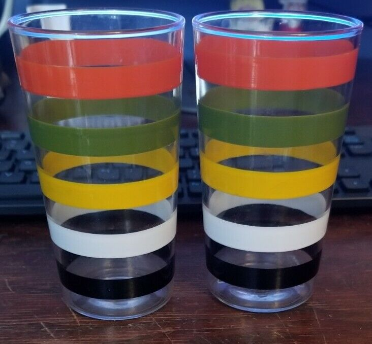 """2 Vintage Multicolored Striped Drinking Glasses with Olive Green """"Anchor over H"""""""