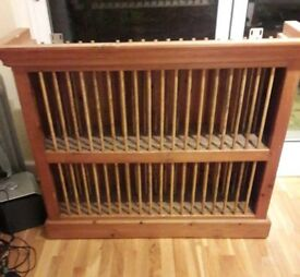 Solid heavy pine plate rack.