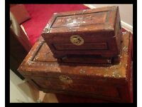 LARGE HEAVILY CARVED WOODEN CHEST COFFERS CHINESE FIGURES!